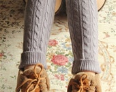 Gray Cable Knit Leg Warmers Womens Lace Boot Socks Over Knee High Thigh Long Stocking