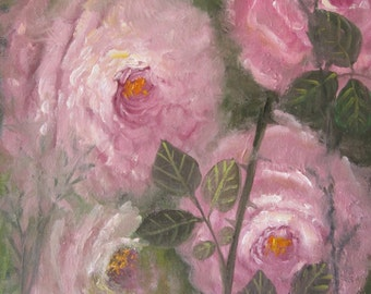 Impressionistic Summer Roses, original oil painting, 9x12