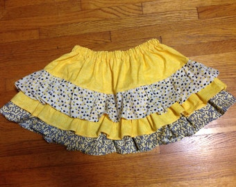 SALE!!!   Little girl's black white and yellow ruffle skirt Size 2T -3T -- Ready to ship