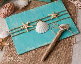 Beach Wedding Guest Book, Ocean Wedding Guestbook, Aqua Guest Book Pen Holder, Starfish Guest Book, Book Alternative, Shell Wedding Pen