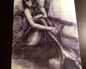 Decorative handmade ceramic tile Mural of Mermaid.(F74) Decor Ideas,Ceramic tiles.,Home and living.Interior Decor.Kitchen Art.Wall decals