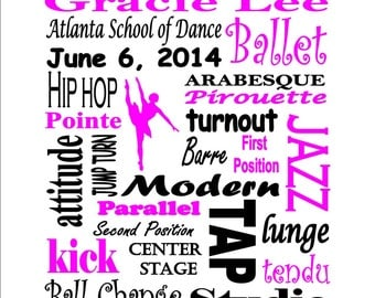 Personalized Custom Printable Dance Recital Ballet Tap Jazz Subway Art Sign Gift