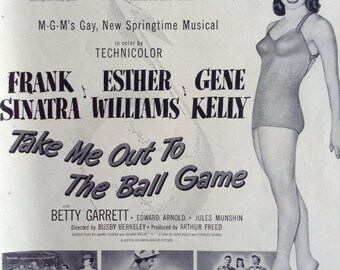 """Vintage Advertisement for the Movie """"Take Me Out To The Ball Game"""" frome a 1949 Life Magazine."""