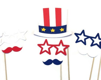 4th of July Photo Booth Props- 7 Piece Photo Booth Prop Set