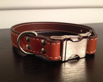 The Oxford - Tan Leather Dog Collar (14-16)