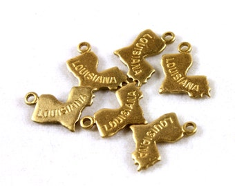 6x Brass Engraved Louisiana State Charms - M057-LA