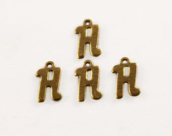 """5x Letter """"H"""" Brass Initial Charms - M071-H"""