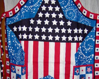 CLEARANCE Patriotic Apron July Stars Fireworks 2 Styles