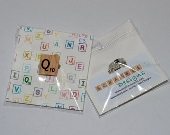 Wooden Scrabble Tile Ring