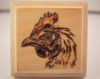 Rhode Island Red chicken wood carving