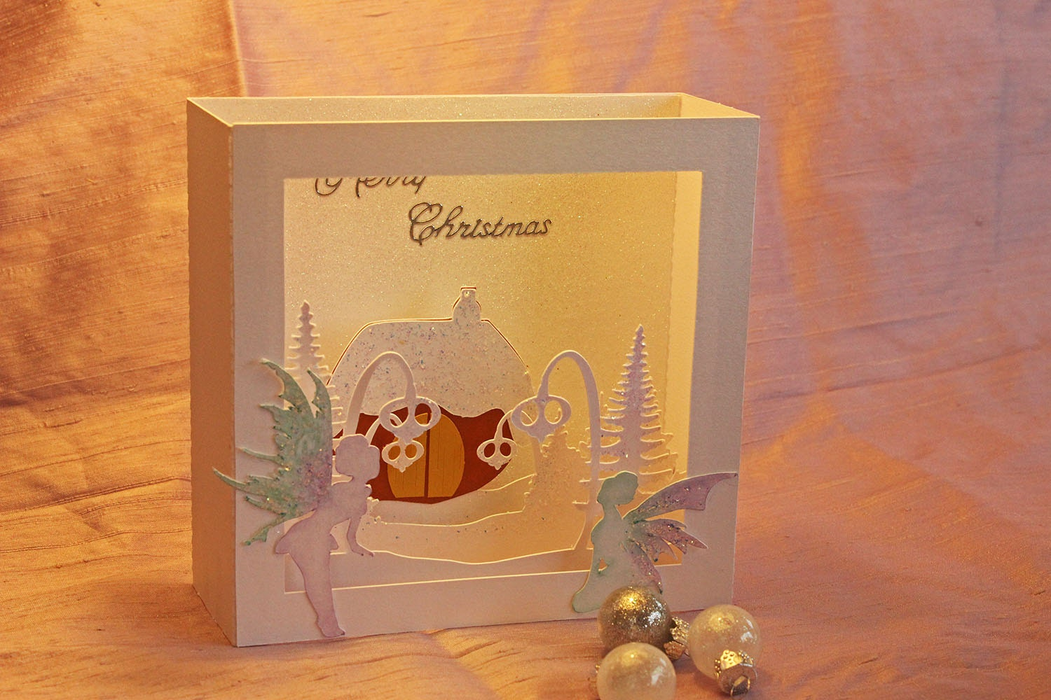 Svg 3d fairy house christmas card digital download for 3d xmas cards to make