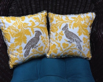 Bird Print Pillow in Yellow/Taupe By GG   14x14