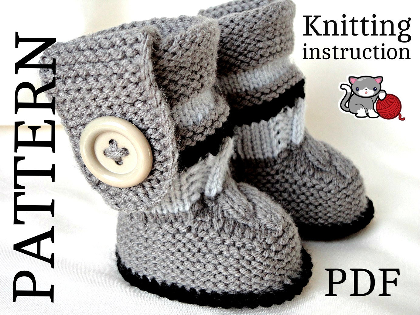 Knitting PATTERN Baby Booties PATTERN Knit Baby Shoes Baby Boy Baby Girl Patt...