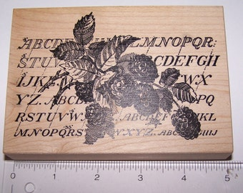 Stampa Rosa - Berry & Alphabet M59-815 ~ Large Wooden Rubber Stamp ~ Collage ~ Scrap-booking ~ Card Making