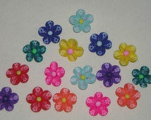16 polymer clay 20mm rainbow mix color flowers have flower design in them