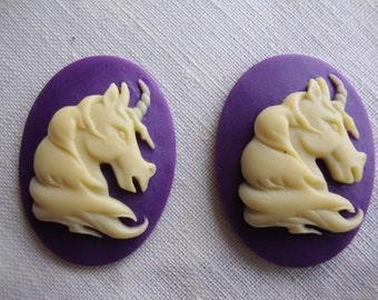 2 resin cabachon, unicorn cabachon, DIY Jewelry making 40x30