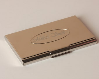 Silver Business Card Holder with Free Engraving