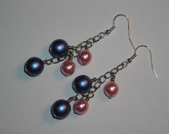 Blue and Pink Czech Glass Pearl Dangle Earrings