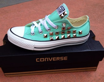 Studded Mint Converse Chuck Taylor All Star Shoes Low Top