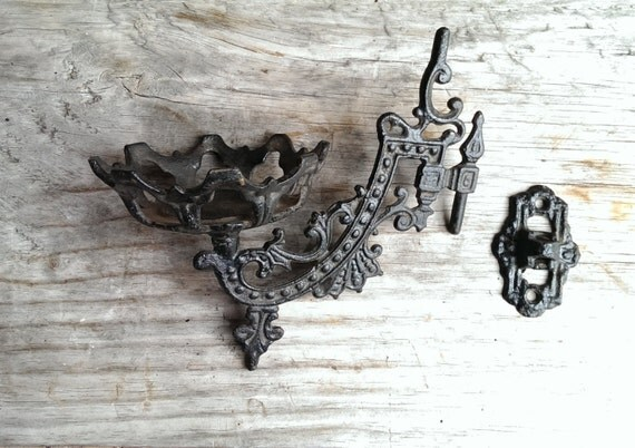 Old Victorian Gothic Cast Iron Swing Arm Oil Lamp Holder