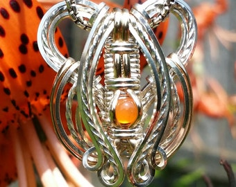 Orange Carnelian FlowMini Series Pendant