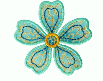 "Kimono Flower Applique Machine Embroidery Design Pattern in 3 sizes 4"", 5"" and 6"""