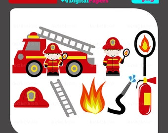 Firefighter and Firetruck Clipart Digital Clip Art Firetruck Digital Clipart Firefighter and Firetruck Party Clipart - Instant Download