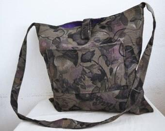 """large cotton Purse,bag, Purple ,Gray,Shoulder Bag ,16"""" x 15"""""""