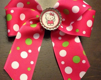 Hello Kitty Pink, Green, and White Hair Bow