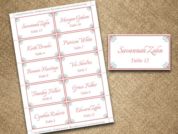 items similar to wedding place cards microsoft word template antique chic coral lagoon mint