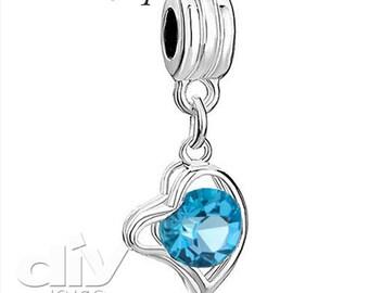 Crystal Pendant Heart Dangle Charm Beads Fit European Bracelets - Aquamarine -  FREE SHIPPING  # CRPENTIB-9