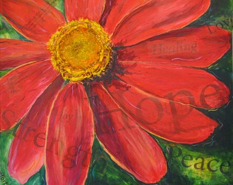 Giclee Print of Zinnia of Hope 3-D painting with mustard seed