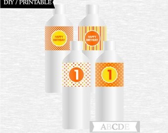 Instant Download Yellow and Orange Polka Dots First Birthday Party Water Bottle wraps ( PDMD010 )