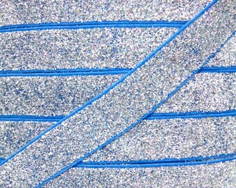 Blue & Silver 5/8 inch Glitter Elastic - Elastic For Baby Headbands and Hair Ties - 5 Yards of 5/8 inch Glitter FOE