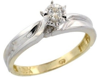 10k Yellow Gold Diamond Engagement Ring, 1/8 inch wide