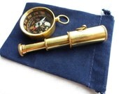 Brass Telescope & Compass Gift Set w/ Velour Bag ~ Pendant, Keychain ~ Nautical Maritime