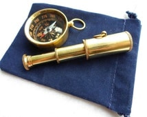 Brass Telescope & Compass Gift Set w/ Velour Bag ~ Pendant, Keychain ~ Nautical Maritime