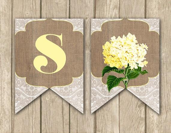 banner baby shower banner burlap lace banner bridal shower banner
