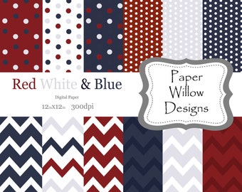 Red White & Blue-(12)-12x12-300dpi-Chevron-Polka Dots-Instant Download-Patriotic-Red-Blue-White-Fourth Of July