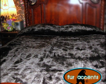 Plush Faux Fur Bedspread - Sleek Black Ribbed Chanel Mink - Backed with Softest Minky Cuddle Fur - Fur Accents Original Designs - USA