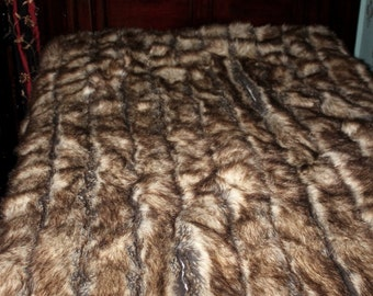 Plush Faux Fur Bedspread - Comforter - Throw Blanket - Soft Brown Ribbed Fox - Custom Design by Fur Accents USA