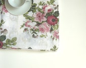 LINEN table cloth with roses natural linen tablecloth Linen. Rectangle linen tablecloth Roses.