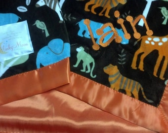 FREE SHIPPING Personalized Baby Blanket with Jungle Tales Brown Minky and satin or minky back.  Elephant, Tiger, Giraffe, Zebra, Monkey