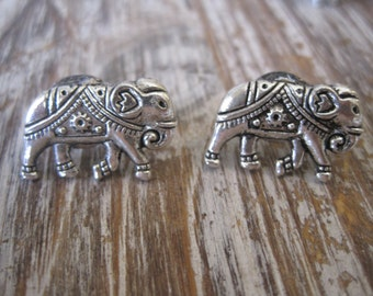 Silver Elephant Earrings - Elephant Stud Earrings - Silver Elephant Earrings, Elephant Post Earrings