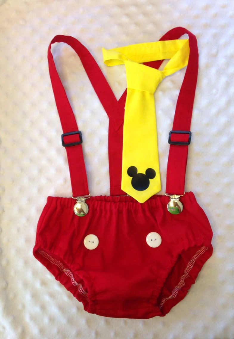Cake Smash Outfit Mickey Mouse Diaper Cover Suspenders