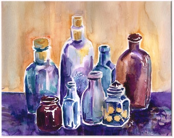 Watercolor painting of vintage glass bottles