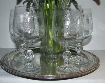 Bohemian  Gorgeous Lacy Needle Etched Water / Wine  Glasses with cut glass ball stem Set of 4