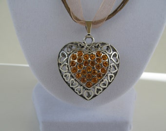 Puff  heart necklace,citrine crystal heart necklace, filagree heart necklace, handmade