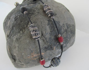 Free U.S.shipping, Black/grey/beige stone necklace, red/black stone necklace, black tube necklace, handmade