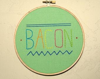 "SALE!  Bacon Embroidery Hoop Art - 6"""